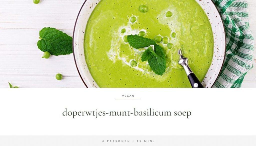 Doperwtjes-munt-basilicum soep | Recept van Annelies Bakker