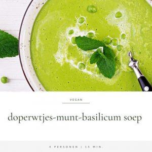 Doperwtjes-munt-basilicum soep   Recept van Annelies Bakker